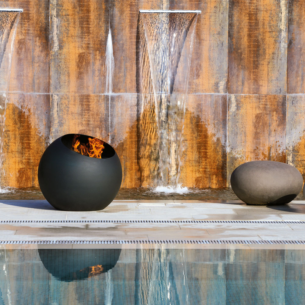 brasero focus creation feu exterieur terrasse piscine bubble