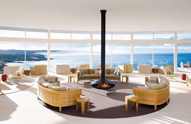 Cheminée design centrale Gyrofocus dans un Hotel en Australie