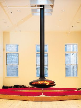 Cheminée design centrale Gyrofocus situé à New York