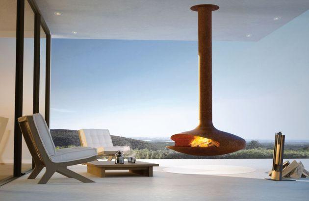 cheminée design centrale Gyrofocus outdoor rouillé