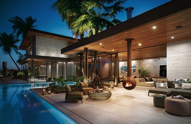 cheminée contemporaine pour l'extérieur sur terrasse avec piscine Bathyscafocus