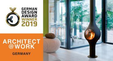 cheminée contemporaine design centrale suspendue salon gaz poëles architect@work A@W